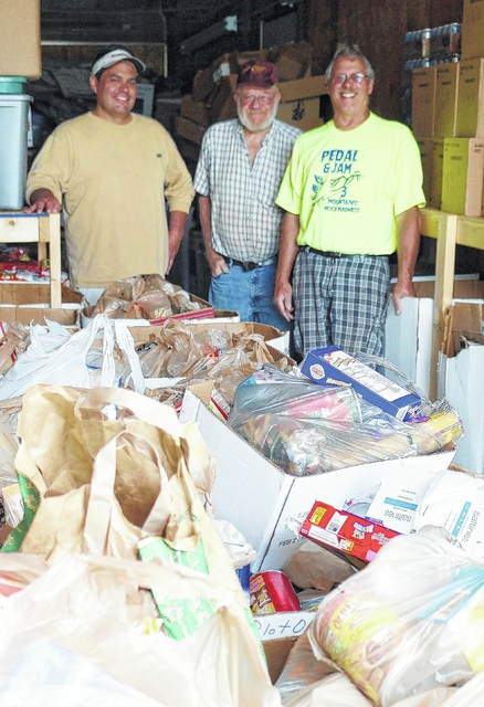 Postal workers collect food